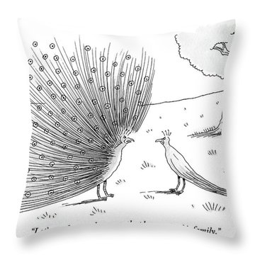 A Peacock With A Massive Coat Yells Throw Pillow