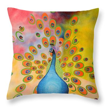 A Peculiar Peacock Throw Pillow