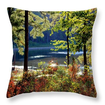 A Peek At Lake O The Pines Throw Pillow by Kathy  White
