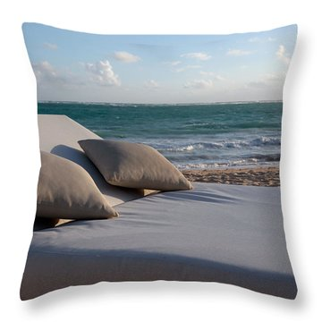 Throw Pillow featuring the photograph A Perfect Day On The Beach by Karen Lee Ensley