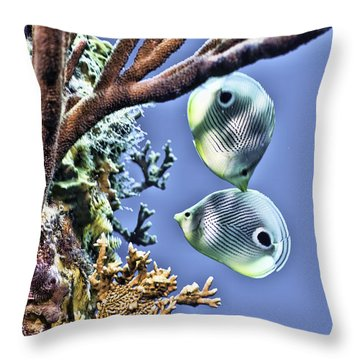 Two Butterfly Fish And Coral Reef Throw Pillow