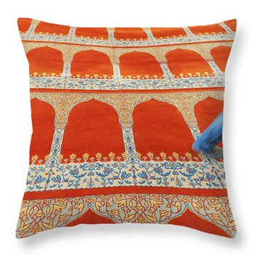 A Person Walking Over The Colourful Throw Pillow by Keith Levit