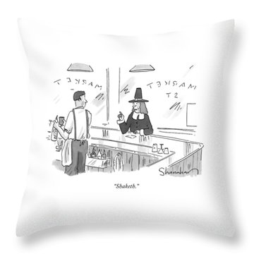 A Pilgrim In A Bar Speaks To The Bartender Throw Pillow