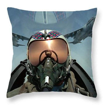 A Pilot Takes A Self Portrait Throw Pillow by Stocktrek Images