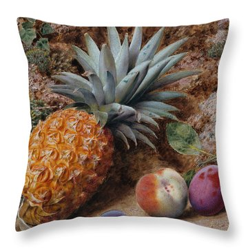 A Pineapple A Peach And Plums On A Mossy Bank Throw Pillow by John Sherrin