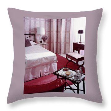 A Pink Bedroom Throw Pillow