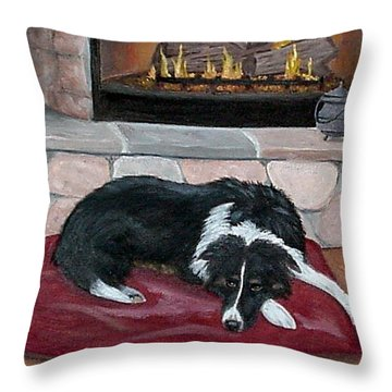 Throw Pillow featuring the painting A Place By The Fire by Fran Brooks