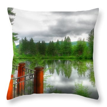 A Place By The Lake Throw Pillow