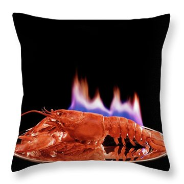A Plate Of Lobster Flambe Throw Pillow