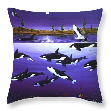 Throw Pillow featuring the painting A Pod Of Desert Orcas by Lance Headlee