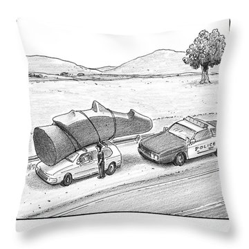 A Police Officer Has Pulled Over A Car With An Throw Pillow