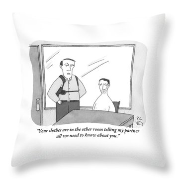 A Policeman Is Seen In An Interrogation Room Throw Pillow