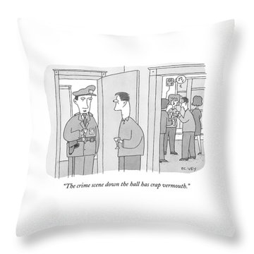 A Policeman With A Martini Glass Stands Throw Pillow
