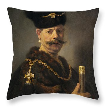 A Polish Nobleman Throw Pillow by Rembrandt