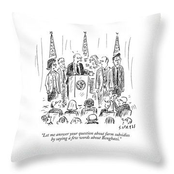 A Politician Speaks At A Podium Throw Pillow
