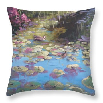 A Pond Reflection Throw Pillow