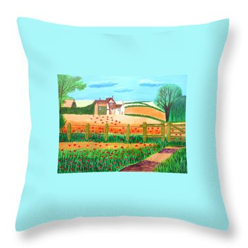A Poppy Field Throw Pillow