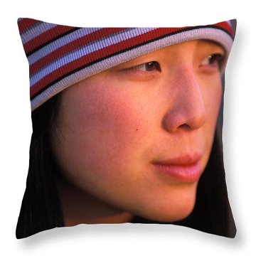 A Portrait  Headshot Of An Active Woman Throw Pillow