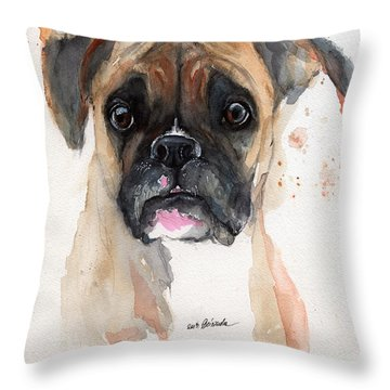 A Portrait Of A Boxer Dog Throw Pillow by Angel  Tarantella