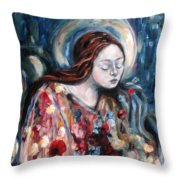 A Prayer For Us Throw Pillow by Carrie Joy Byrnes