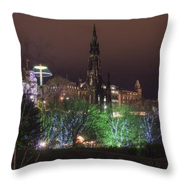 Throw Pillow featuring the photograph A Princes Street Gardens Christmas by Ross G Strachan