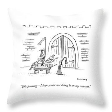 A Princess Says To A Knight Holding A Lance Throw Pillow