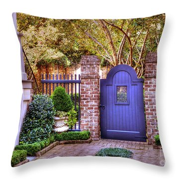 Throw Pillow featuring the photograph A Private Garden In Charleston by Kathy Baccari