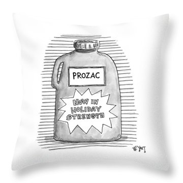A Prozac Bottle Of Pills Labeled 'now In Holiday Throw Pillow