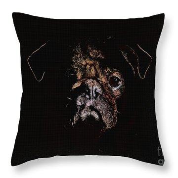 A Pug Of Another Color Throw Pillow by Erica Hanel
