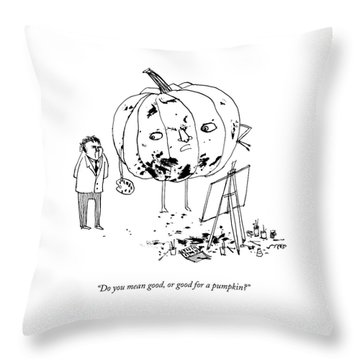 A Pumpkin With A Face And Legs Holds A Paintbrush Throw Pillow
