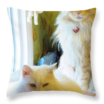 Throw Pillow featuring the painting A Purrfect Couple by Judy Via-Wolff