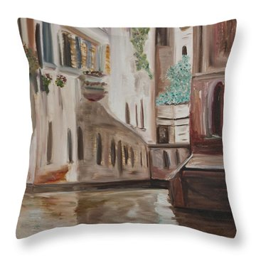 A Quiet Venice Canal Throw Pillow