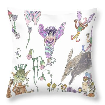 A Rabbit And Some Fairies Throw Pillow