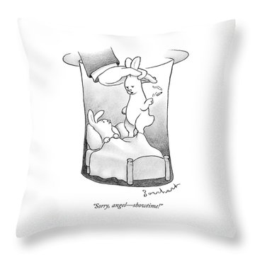 A Rabbit Is Being Pulled Out Of A Hat Throw Pillow
