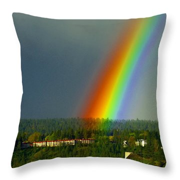 Throw Pillow featuring the photograph A Rainbow Blessing Spokane by Ben Upham III