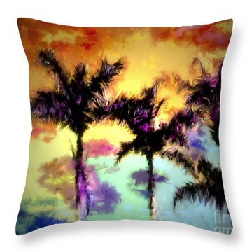 A Rainbow Of Palms Throw Pillow