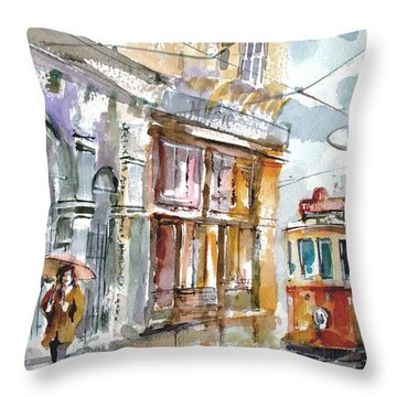 A Rainy Day In Istanbul Throw Pillow by Faruk Koksal
