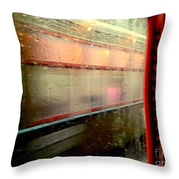 New Orleans Rainy Day Ride On The St. Charles Avenue Street Car In Louisiana Throw Pillow by Michael Hoard