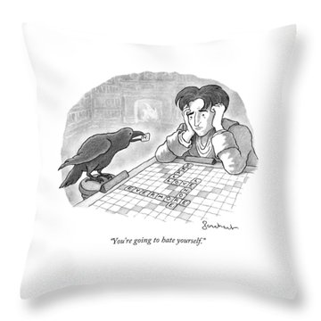 A Raven Is About To Add An N To The Word Evermore Throw Pillow