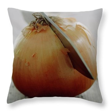 A Raw Onion Being Cut In Half Throw Pillow