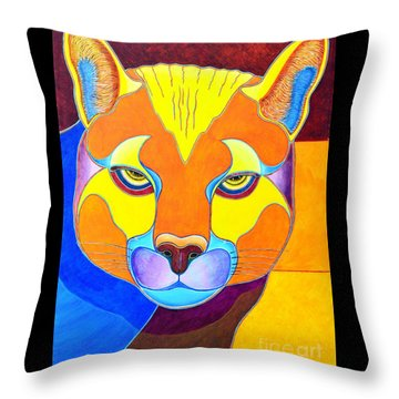 Throw Pillow featuring the painting A Really Bright Cougar by Joseph J Stevens