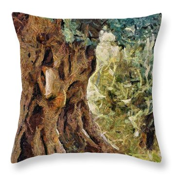 A Really Old Olive Tree Throw Pillow by Dragica  Micki Fortuna