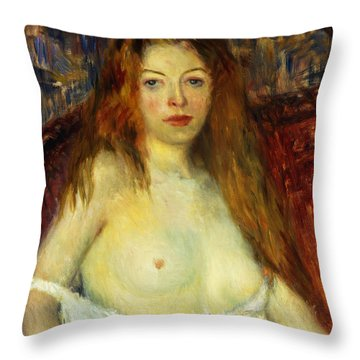 A Red-haired Model Throw Pillow