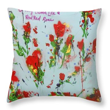 A Red Red Rose Throw Pillow