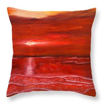 A Red Sunset Throw Pillow