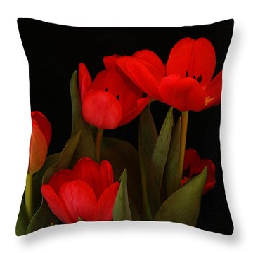 A Red Tulip Day Throw Pillow by Roena King