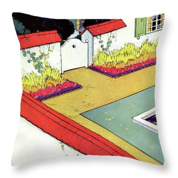 A Reflecting Pool And Garden Throw Pillow