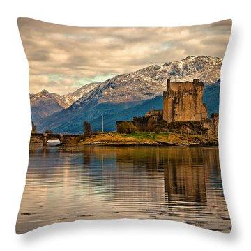A Reflection At Eilean Donan Castle Throw Pillow