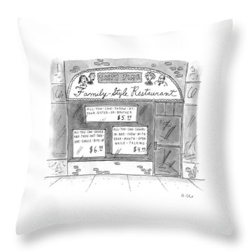 A Restaurant With Various Signs Throw Pillow