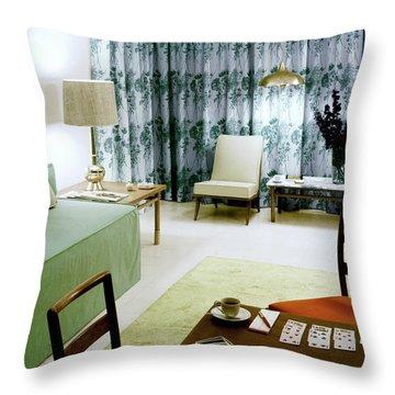 A Retro Bedroom Throw Pillow